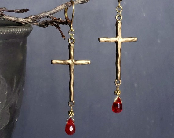 Solid Bronze Large Cross Earrings, Red Quartz Drop, Goth Cross Earrings, Red and Gold, Gold Cross Earrings, Religious Earrings Jewelry