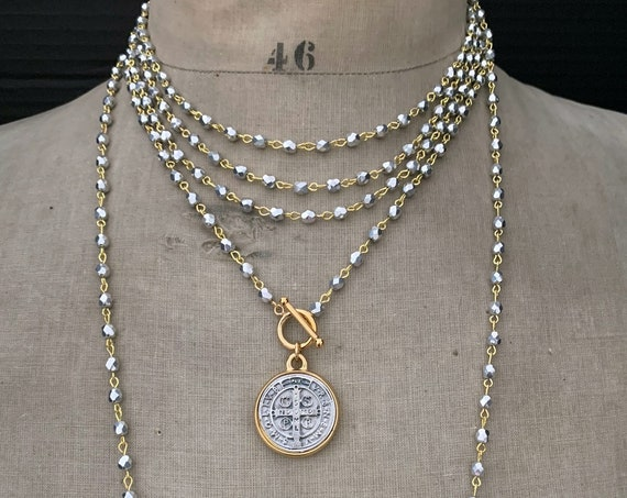 St Benedict Medal Necklace, Religious Medal, Long Beaded Wrap Around Necklace