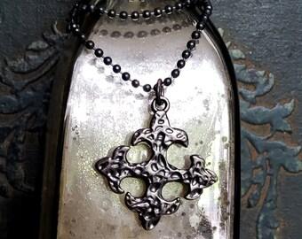 Black Fleur De Lis Necklace, STERLING SILVER chain Fleur de Lis Jewelry, Black Chain, Romantic, Edgy, Tiny Black Bead Chain, Black Cross