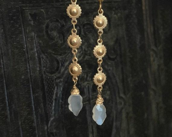 Long Gold and White Moonstone Dangle Earrings