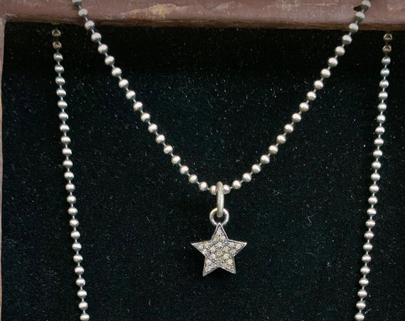 Pavé Diamond Star Charm Sterling Silver Chain Bead Necklace