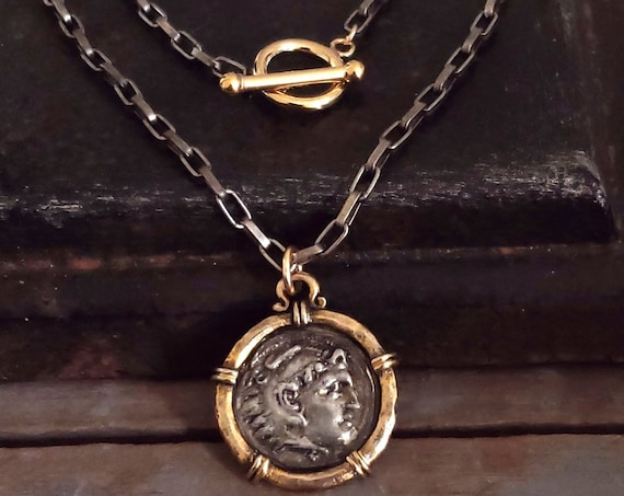 Coin Pendant Necklace, 14K Gold Fill Toggle Clasp, Layering Chain, Silver Gold Chain, Coin Jewelry Old World Jewelry Antique Vintage Style
