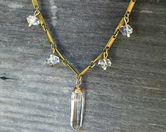Herkimer Diamond Quartz Point Necklace, Vintage Brass Chain, Raw Crystal, Raw Stone, Crystal Quartz, Herkimer Diamond Necklace, Edgy Jewelry