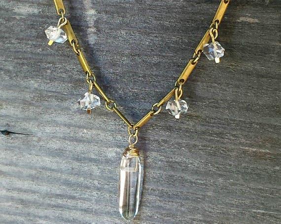 Herkimer Diamond Quartz Point Necklace, Vintage Brass Chain, Raw Crystal, Raw Stone, Crystal Quartz, Herkimer Diamond Necklace, Edgy Jewelry