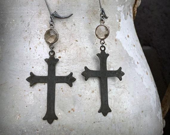 Black Cross Earrings, Gothic Cross, Statement Earrings, Big Cross, Long Cross, Rocker Chic, ViaLove, Large Cross Earrings, Rustic Earrings