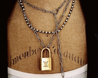 Lock and Key Gold Padlock Statement Necklace Silver and Gold Long Wrap Around Pendant Necklace, Mixed Metal, Rocker