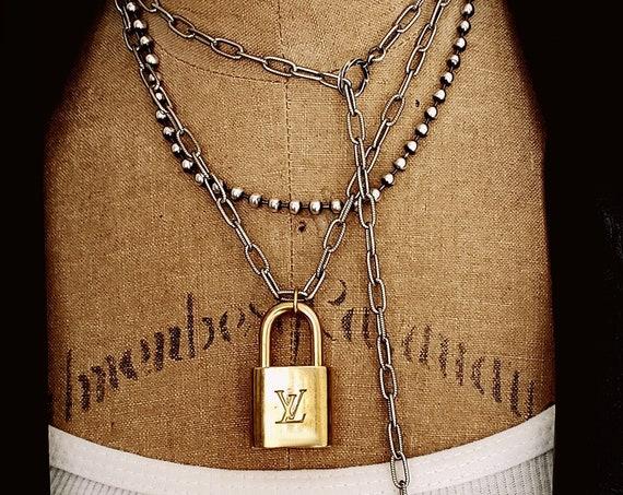Unique VINTAGE Padlock Wrap Around Chain Necklace, Louis Vuitton Lock and Key, Convertible Necklace