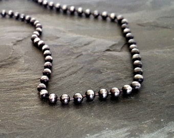 Sterling Silver Bead Ball Necklace, Oxidized Silver Sterling Bead Chain, Sterling Silver Jewelry, Elegant Bead Sterling Necklace