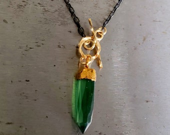 Green Stone Pendant Necklace, Green Onyx, Stone Point, Spike Stone, Oxidized Sterling Silver Chain Black Chain Gold Toggle Clasp, Black Gold