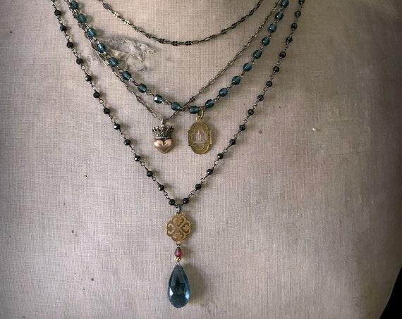 Black Bead Gemstone Garnet Gold Rosary Chain Pendant Necklace, Spinel, Moss Aquamarine