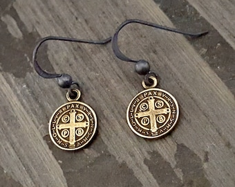 Antique Brass St Benedict Earrings, Oxidized Silver Black Bronze, Coin Dangle Earrings, Antique Cross, Saint Benedict, Religious Cross