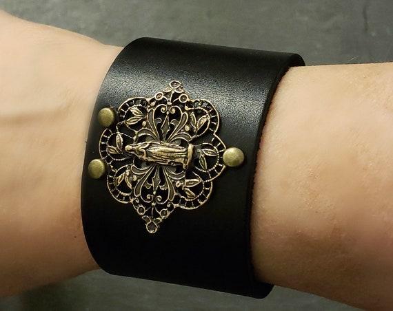 Vintage Style Madonna Religious Medal Leather Cuff Bracelet, Black Wide Leather, SOLID BRONZE Metal Filigree, Snap Bracelet, Black Bronze