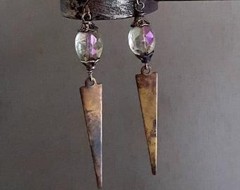 Gemstone Spike Earrings, Oxidized Rust Patina Brass Gemstone Earrings, Mystic Quartz Stone, Rustic, Artisan Jewelry, Vintage Style