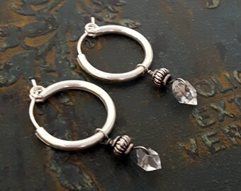 Small Crystal Dangle Earring, Sterling Silver Stone Hoop,Herkimer Diamond, Oxidized Silver Small Black Hoop, Interchangeable Hoop, Gemstone