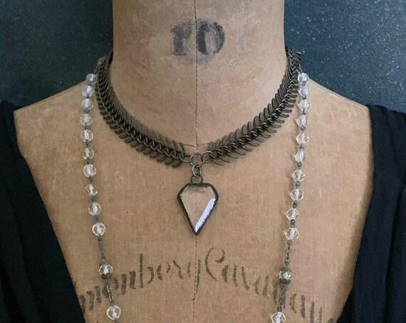 Tribal Necklace, Statement Necklace, Tribal Jewelry, Boho Necklace, Ethnic Necklace, Antique Brass Bronze Chain, Crystal Quartz
