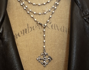Long Silver Bead Necklace, Wrap Around Necklace, Fleur de lis Necklace, Fleur de Lis Pendant, Beaded Chain Long Silver Pendant