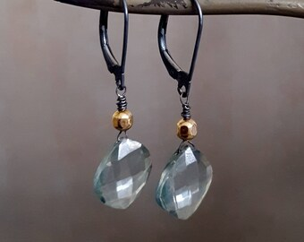Gemstone Dangle Earrings, Teal Quartz Stone, Oxidized Silver Sterling, Gold Earrings, Black Gold Aqua Blue, Light Blue Stone, Leverback