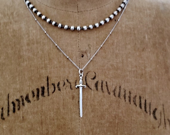 Sterling Silver Sword Necklace, Silver Layering Chain Necklace, Sterling Silver Pendant Layer Necklace, Silver Chain Sterling Cross Necklace
