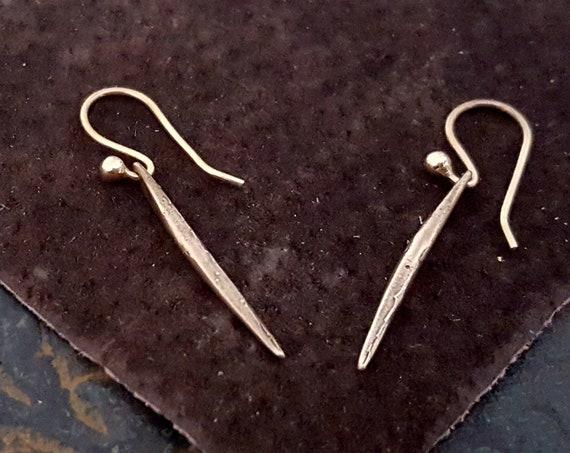 Tiny Gold Earrings, Gold Spike Earrings, SOLID BRONZE EARRINGS, Tiny Spike, Small Gold Earrings, Minimalist Gold Earrings, Spike Jewelry