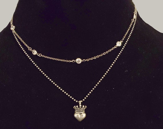 CHERISHED - Dainty CZ Sterling Silver Crystal Chain Necklace, Sparkly, Silver Chain, Silver Jewelry, Simple Silver Everyday Necklace