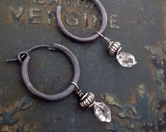 Small Crystal Dangle Earring, Sterling Silver Stone Hoop,Herkimer Diamond, Oxidized Silver Small Black Hoop, Interchangeable Hoop, Gemstone
