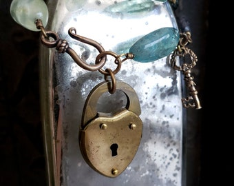 Unlock Your Heart Vintage Gold Padlock Key Necklace, Flourite Gemstone Beaded, Vintage Lock and Key, Altered Assemblage, Upcycled Jewelry