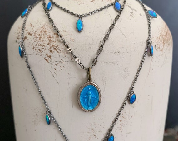 Vintage Blue Miraculous Medal Necklace, STERLING SILVER CHAIN, Blessed Virgin Mary Pendant, Antique Blue Enamel Medal of Our Lady of Graces