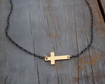 14k Gold Filled Sideways Cross Necklace, Gold Cross, Gold Black, Black Chain, Oxidized Sterling Silver Chain, Gold Pendant, Cross Pendant