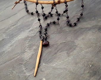 Black Bead Garnet Rosary Necklace, Gold Spike Pendant, Rock Chic, Rock and Roll, Spike Necklace, Long Black Dark Red, Gothic, Edgy