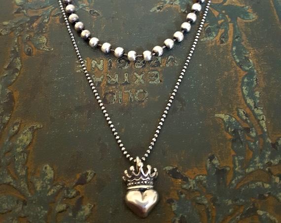 STERLING SILVER Heart Crown Necklace, Sterling Silver Pendant, Rocker, Dainty, Boho, Victorian, Small Silver Pendant, Oxidized Silver