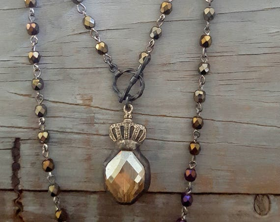 Long Beaded Pendant Necklace, Topaz Crystal, Fall Colors, Wrap Around, Vintage Style, Crown, Earthy, Rustic, Brown Bronze