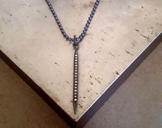 Pave Diamond Spike Necklace, Oxidized Silver, Long Pendant Necklace, Rocker Chic, Pave Diamond Pendant, Gothic Style, Rock and Roll Jewelry