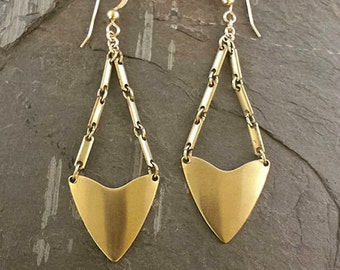 Gold Brass Triangle Statement Earrings, Gold Arrowhead Earrings, Long Dangle Triangle Geometric Earrings, Trending, Tribal Spear