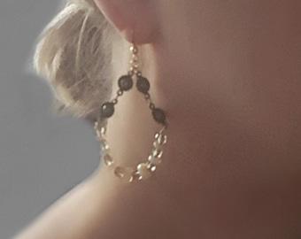 OPAL Dangle Statement Earrings, Stone Hoop Earrings, Brass Boho Earrings, Antique Brass, Opal Stone Earrings, Gemstone Jewelry, Opal Jewelry