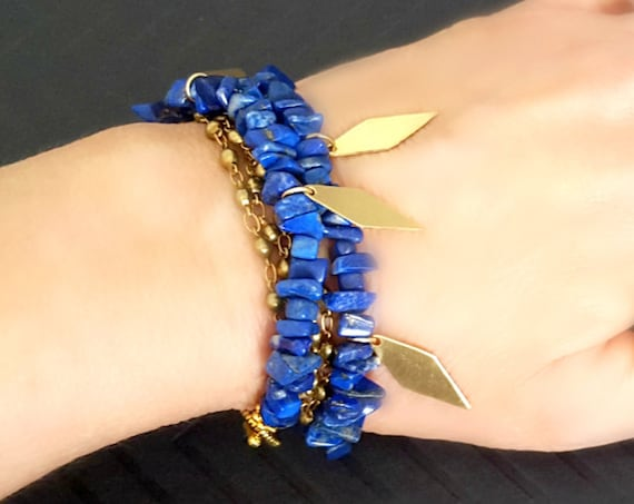 Lapis Blue Bead Bracelet, Tribal Gold Charm Bracelet, Blue Stone Bracelet, LAPIS JEWELRY, Blue and Gold Charm Bracelet