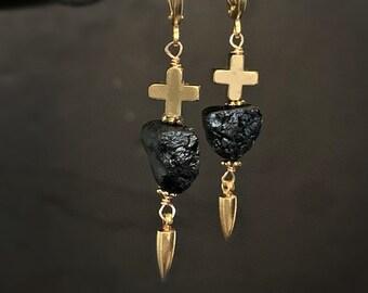 Raw Stone Earrings, Black Tourmaline, Black Gemstone, Raw Crystal, Black Stone, Earrings, Leverback, Gold Cross, Gold Spike, Edgy Jewelry