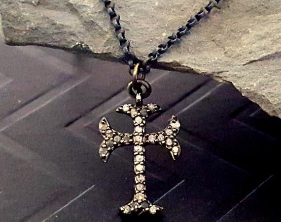 Pave Diamond Cross Necklace, Tiny Silver Black Bead Chain Choker Necklace, Diamond Pendant, Cross Pendant, Sterling Silver