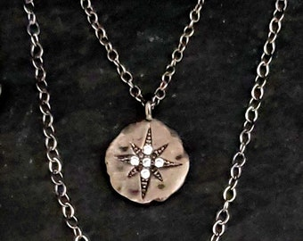CZ Starburst Necklace, Sterling Silver Chain, Rhodium Silver, Tiny Cross, Silver Disc, Oxidized Disc, Rose des Veints, Compass Necklace