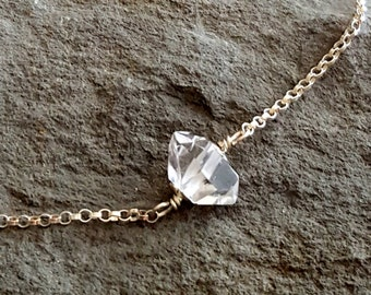 Tiny Herkimer Diamond Necklace, Sterling Silver Chain, Raw Crystal, Raw Stone Diamond, Sterling Silver Chain, Herkimer Diamond Jewelry