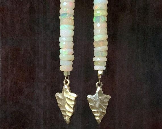 Opal Stone Tribal Earrings, Gemstone Earrings, Opal Bead, Bar Stone, Gemstone Bar Bead, Gold Arrowhead, Ethiopian Opal Long Earrings