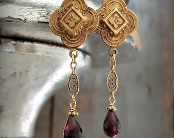 Ornate Gold Filled GARNET Drop Earrings, Long Garnet Earrings, Gold Filigree, Garnet Teardrop Earrings, Garnet Gemstone, January Birthstone
