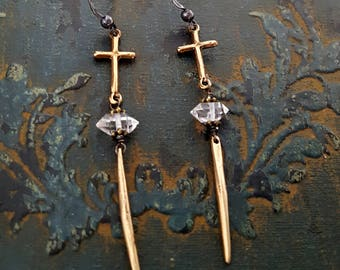 Gold Cross Herkimer Diamond Spike Earrings, Solid Bronze Earrings, Long Cross Crystal Spike Point Earrings, Religious Jewelry Vintage