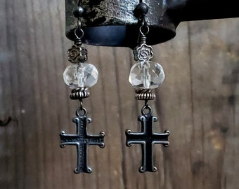 Black Cross Crystal Earrings, Medieval Cross Earrings, Old World  Style, Clear Crystal Quartz Earring, Antique Silver, Sterling Silver Cross