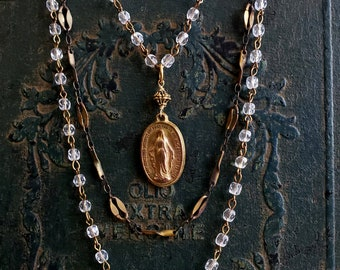 Vintage Religious Medal Necklace, Gold Medal Miraculous Virgin Mary, Gold Pendant, Vintage Pendant Crystal Bead Rosary