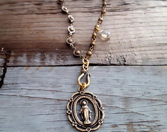 BLESSED PEACE - Antique Gold Virgin Mary Rosary Necklace, Old World, Antique Style, Mother Mary, Miraculous Mary Metal Medallion