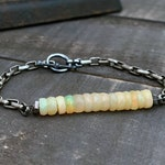 Opal Bead Bracelet, Opal Bar, Ethiopian Opal, Silver Chain Opal, Toggle Clasp, Opal Jewelry, Opal Gemstone, Opal Birthstone