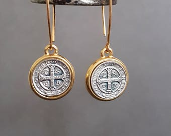 St. Benedict Earrings, Silver and Gold Earrings, Bronze Earrings, Saint Benedict, Religious Jewelry, Rocker, Cross, Gold Kidney Earring Wire