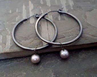 Oxidized Sterling Silver Hoop Earrings, Black Hoop Earrings, Gray Freshwater Pearl, Dangle Pearl Earrings, Large Hoop, Big Hoop, Black Grey