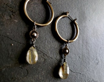 Gold Rutilated Quartz Earrings, Brass Hoop, Oxidized Silver, Gold Golden Rutile Quartz, Brass Silver Earrings, Dangle Stone Hoop Earrings