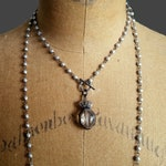 Crystal Crown Necklace, Crown Pendant, Long Silver Bead Wrap Around Necklace, Vintage Style, Antique Style, Oxidized Silver, Toggle Clasp